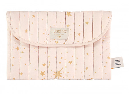Bagatelle pouch 19x27 gold stella/ dream pink