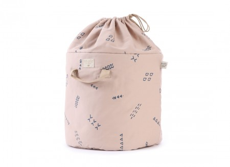 Bamboo toy bag blue secrets/ misty pink - 2 sizes
