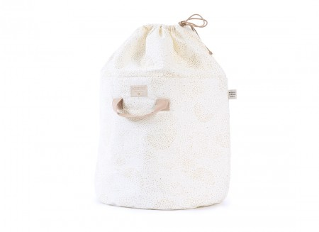 Bamboo toy bag • gold bubble white