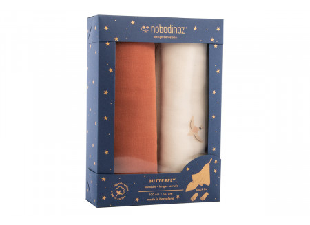 Box 2 Butterfly swaddles pack toffee