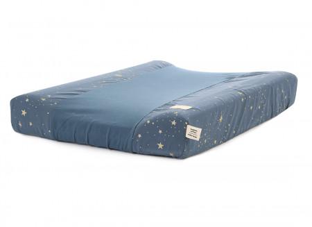 Calma waterproof changing mat • gold stella night blue