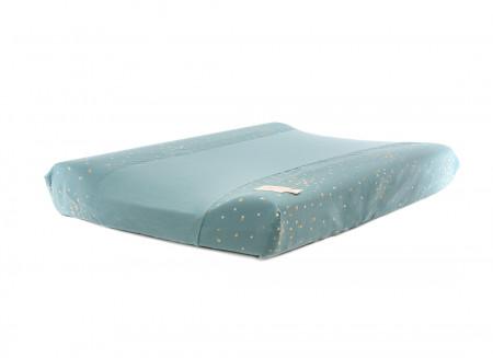 Calma waterproof changing mat • gold confetti magic green