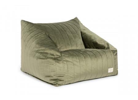 Chelsea armchair beanbag • velvet olive green