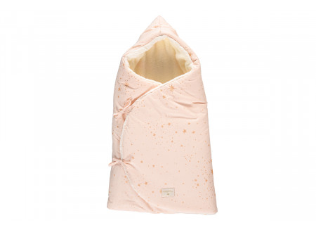 Cozy 0-3M winter baby nest bag • gold stella dream pink