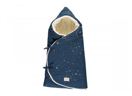 Cozy 0-3M winter baby nest bag • gold stella night blue