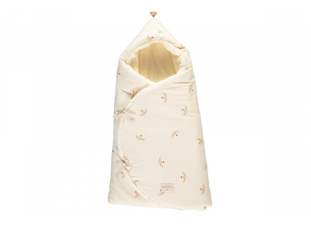 Cozy 0-3M winter baby nest bag • nude haiku birds natural