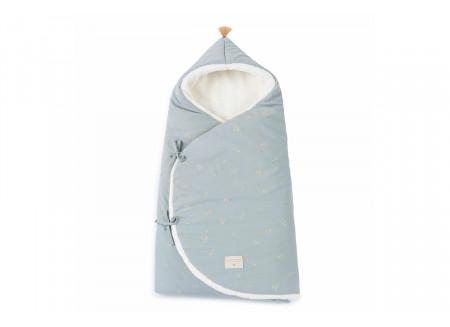 Cozy 0-3M winter baby nest bag • willow soft blue