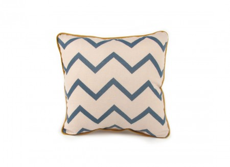 Joe cushion 19x19 zig zag blue