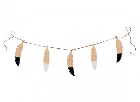 Feathers garland 180cm black&white