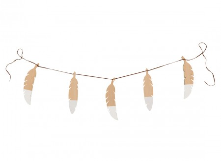 Feathers garland 180cm white
