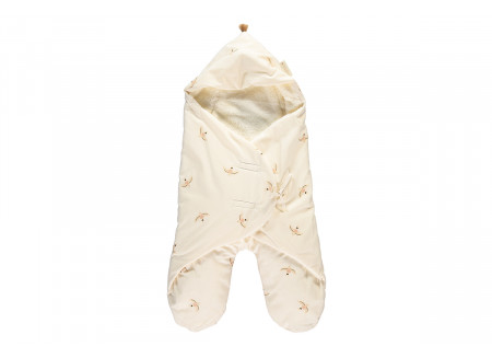 Kiss Me mid-season baby wrap 0-6 M nude haiku birds/ natural