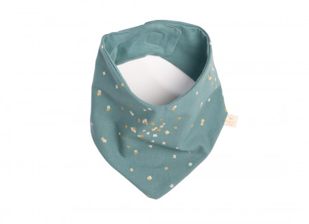 Lucky bandana bib gold confetti/ magic green