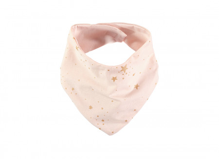Lucky bandana bib 16x43 gold stella/ dream pink