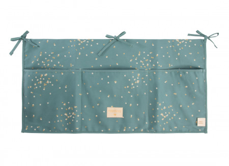 Merlin crib organizer gold confetti/ magic green