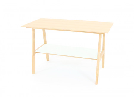 Solid Beech wood Table - moonlight white