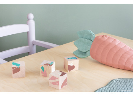 Veggies wooden cubes