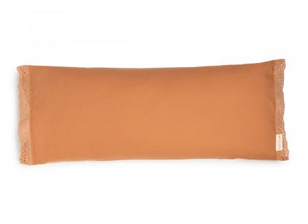 Vera Eyelet Lace large cushion • sienna brown