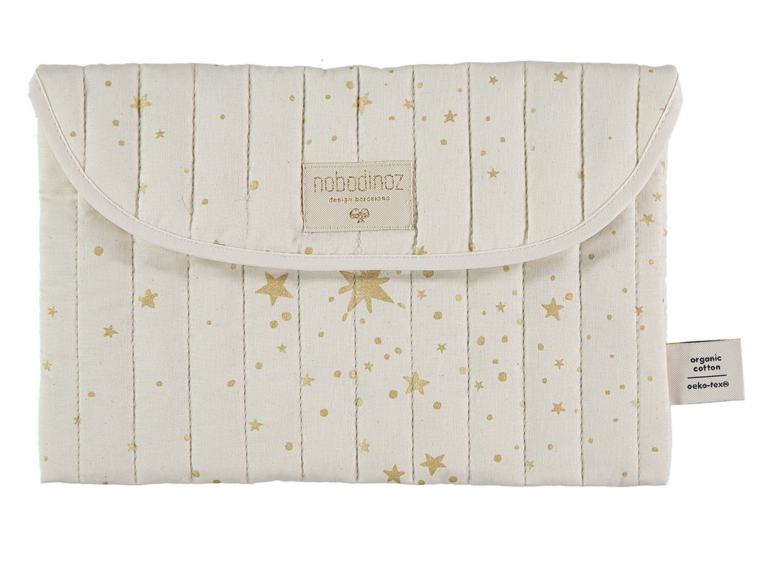 Bagatelle pouch 19x27 gold stella/ natural