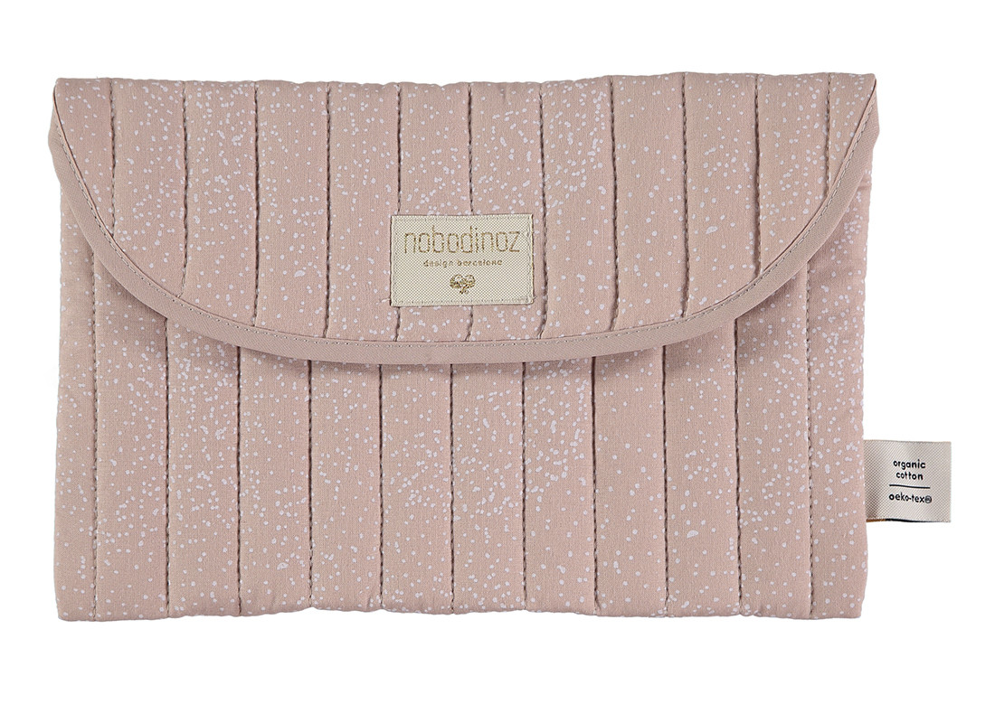Bagatelle pouch 19x27 white bubble/ misty pink