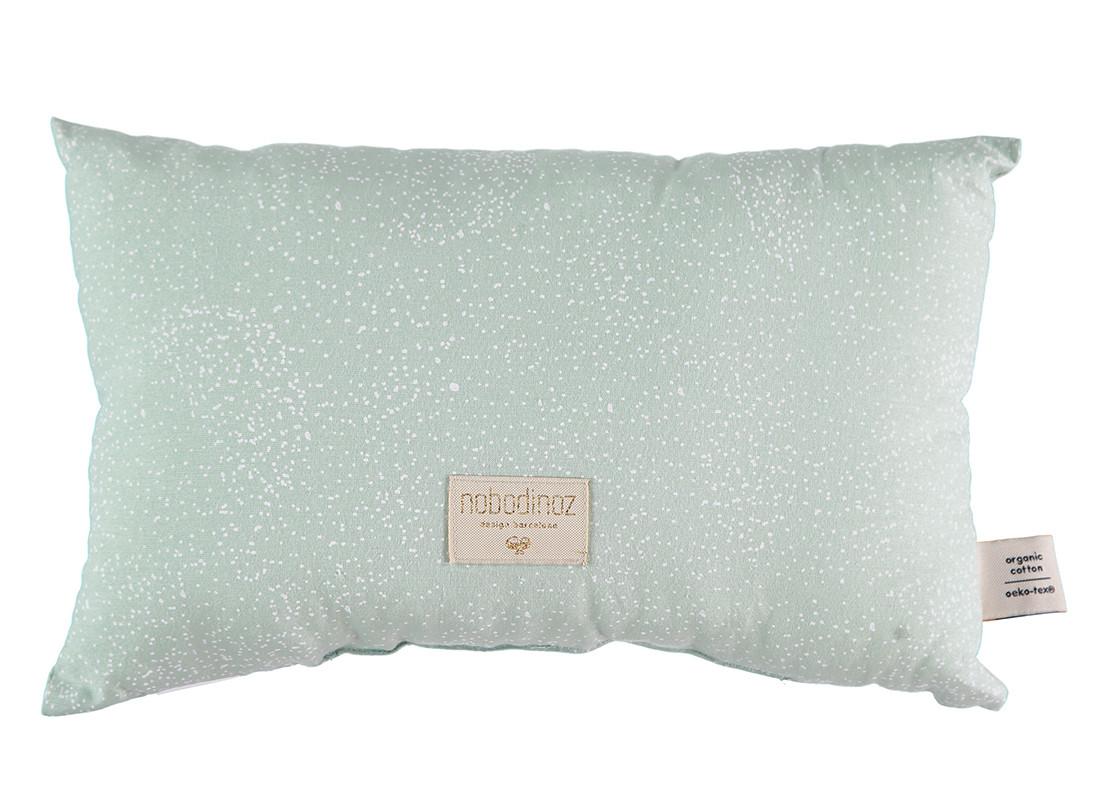 Laurel cushion • white bubble aqua