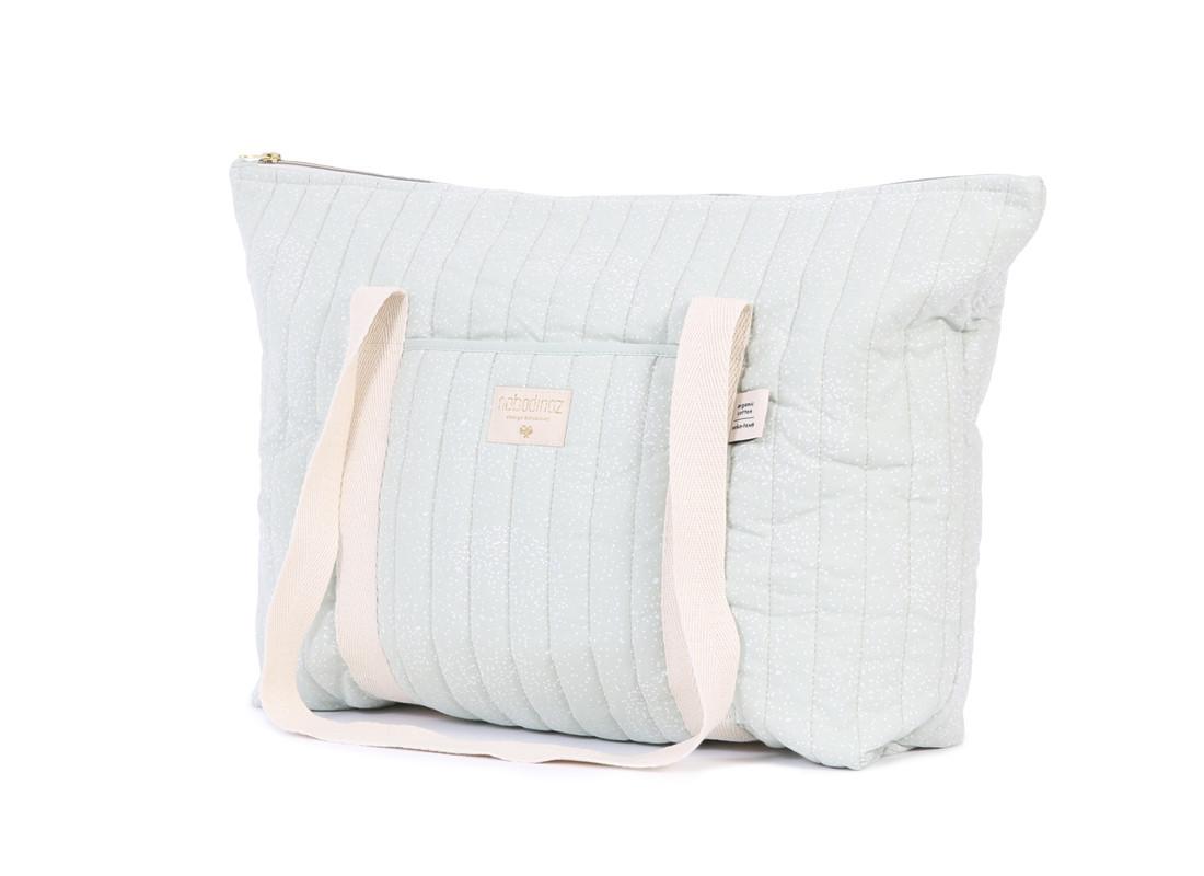 Paris maternity bag 34x50x12 white bubble/ aqua