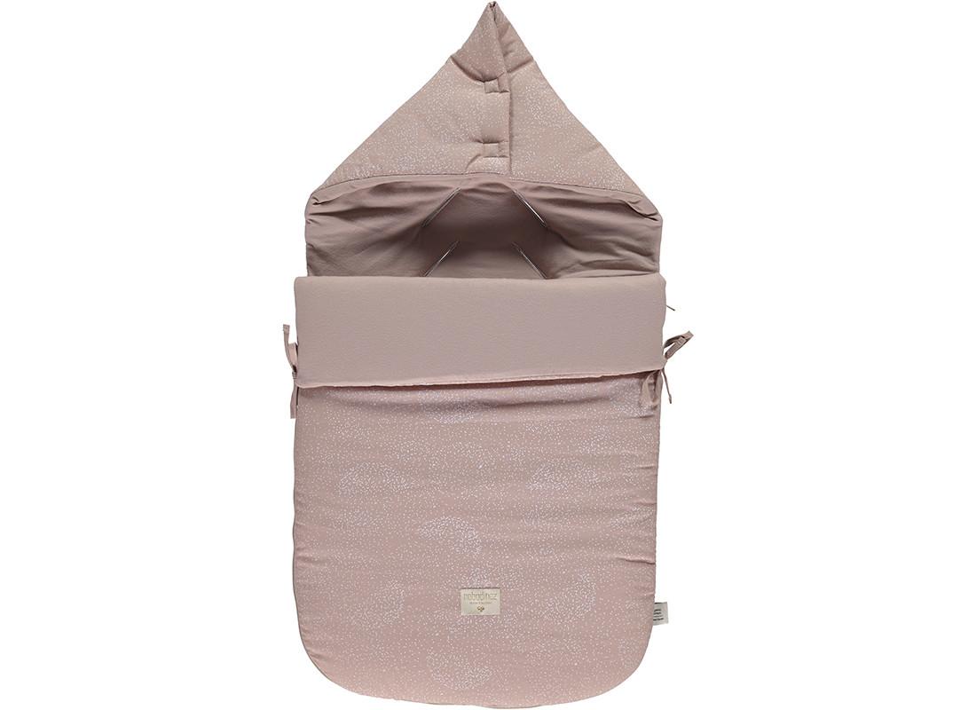 Passegiata footmuff 90x46x6 white bubble/ misty pink