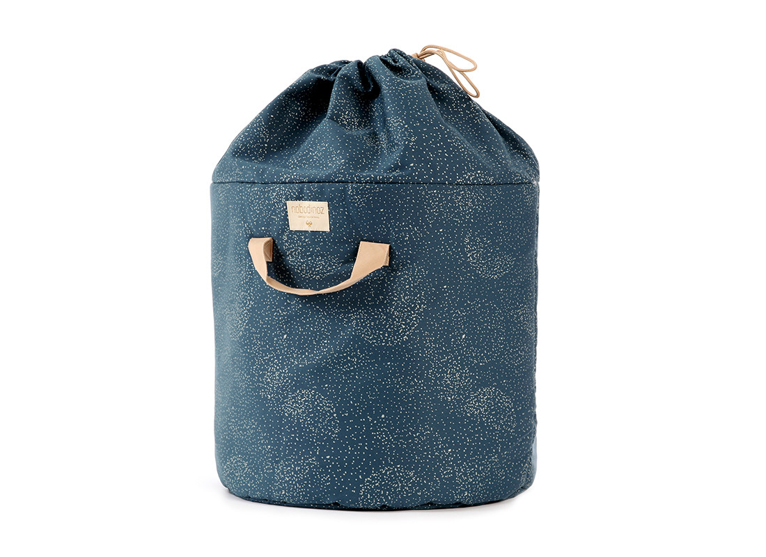 Bamboo toy bag • gold bubble night blue