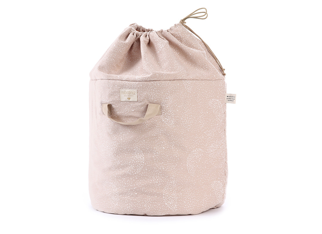 Bamboo toy bag • white bubble misty pink