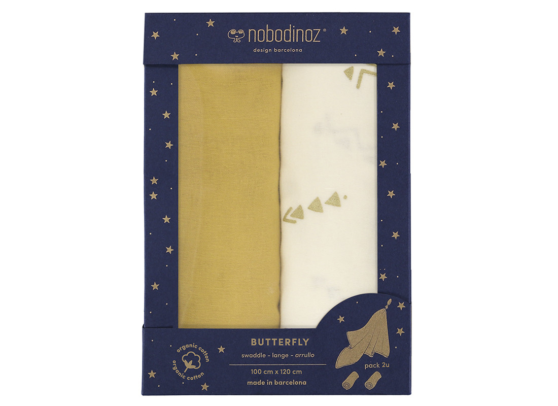 Box 2U Butterfly swaddles pack yellow