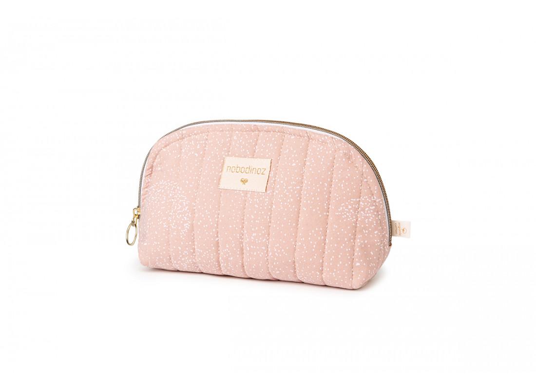Holiday vanity case • white bubble misty pink