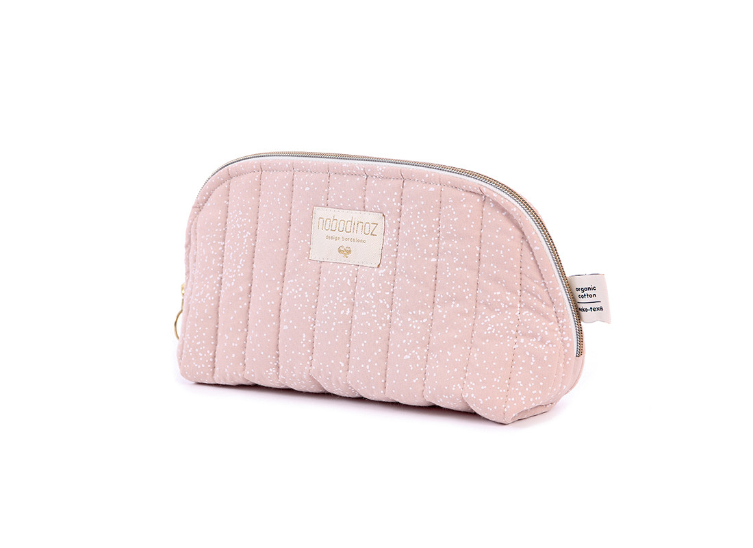 Holiday vanity case • white bubble misty pink