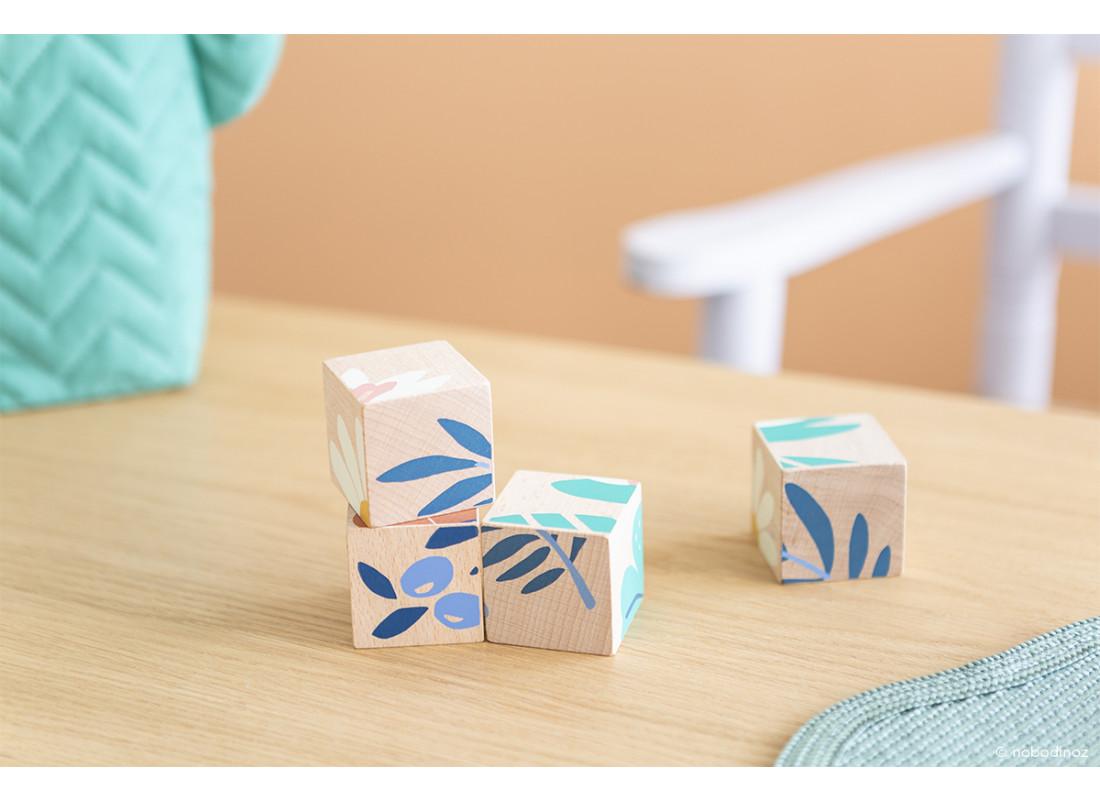 Plants wooden cubes