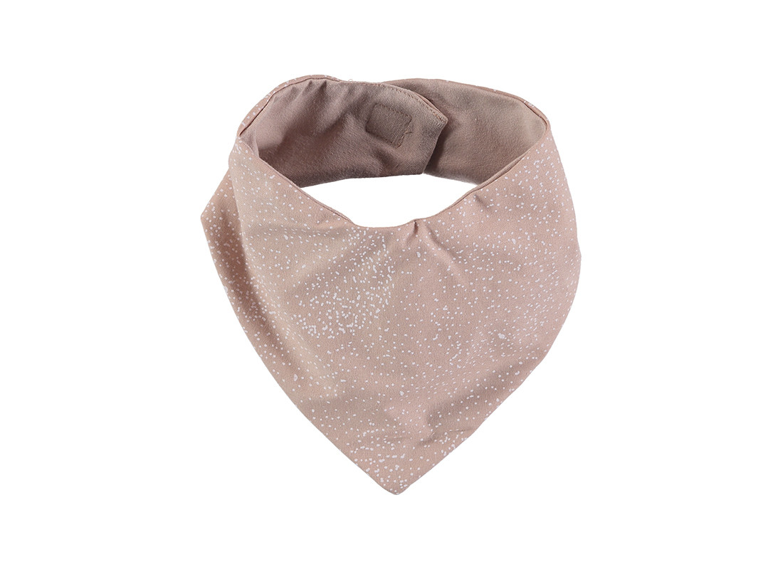 Bavoir bandana Lucky 16x43 white bubble/ misty pink