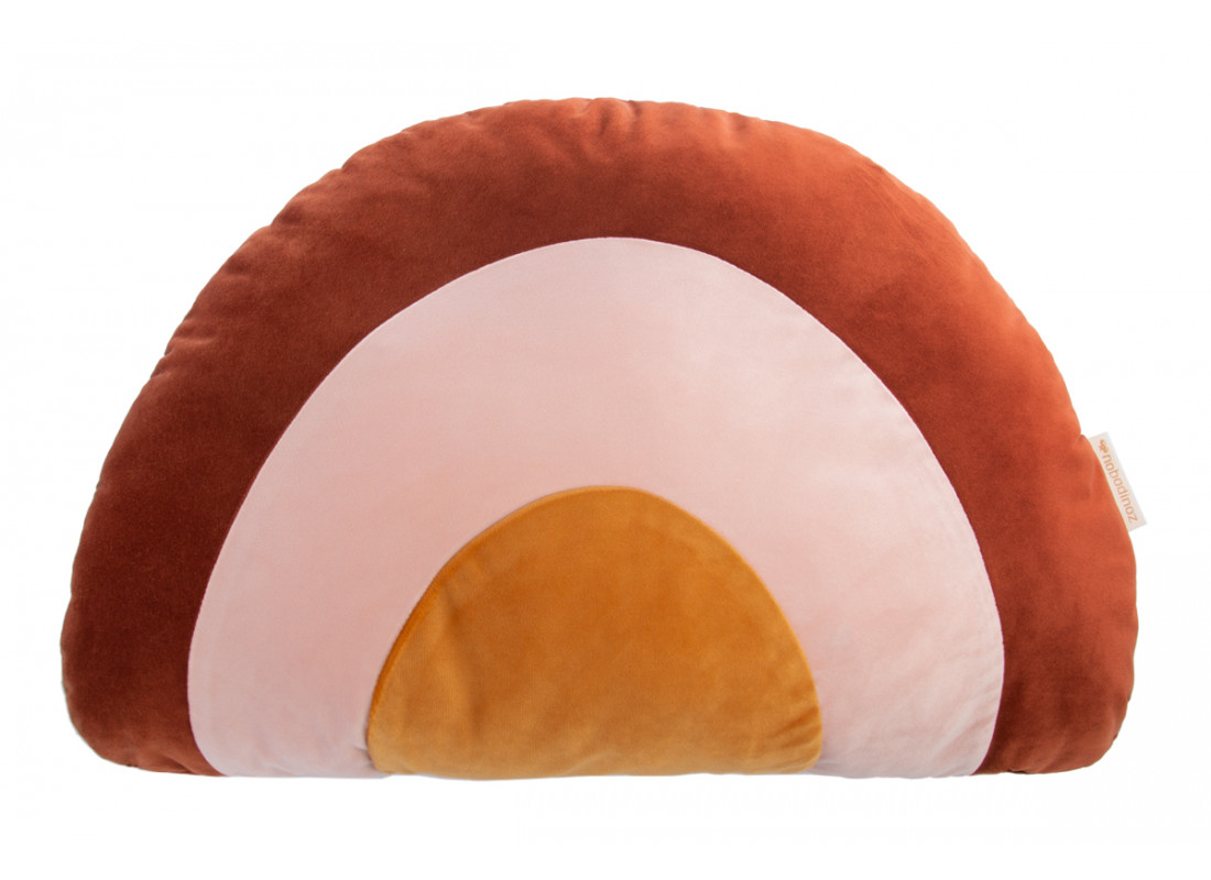 Rainbow velvet cushion wild brown