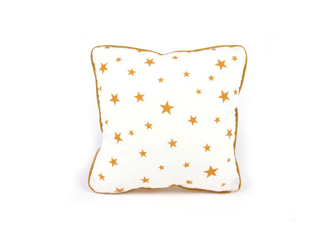 coussin joe 19x19 étoiles moutarde - déco / website officiel / déco