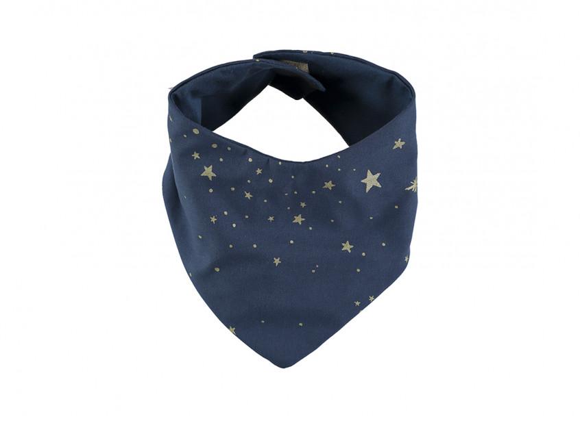 Bavoir bandana Lucky 16x43 gold stella/ night blue