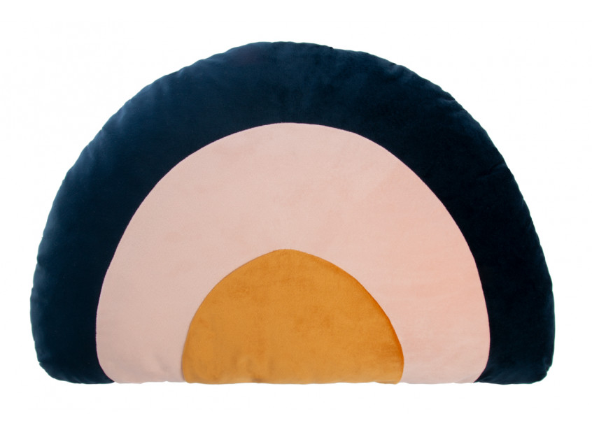 Rainbow velvet cushion night blue