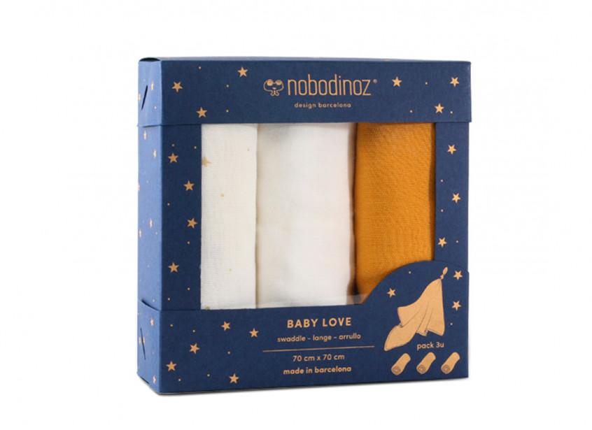 Boîte 3 langes Baby Love pack jaune
