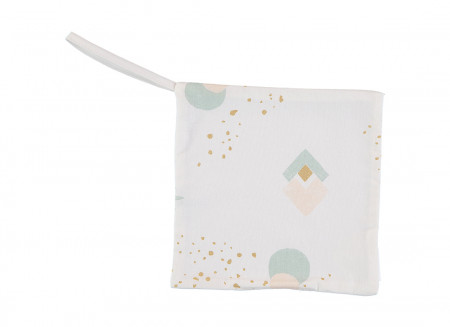 Doudou attache-tétine Dodo 19x19 aqua eclipse/ white