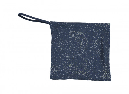 Doudou attache-tétine Dodo 19x19 gold bubble/ night blue