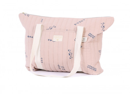 Sac maternité Paris 34x50x12 blue secrets/ misty pink
