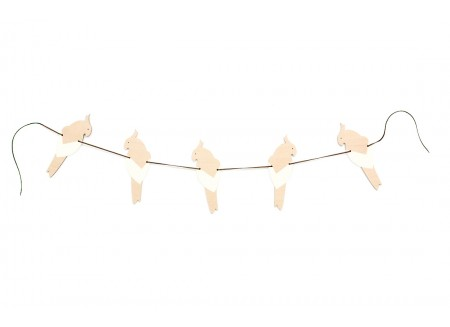 Guirlande de perroquets 165cm white