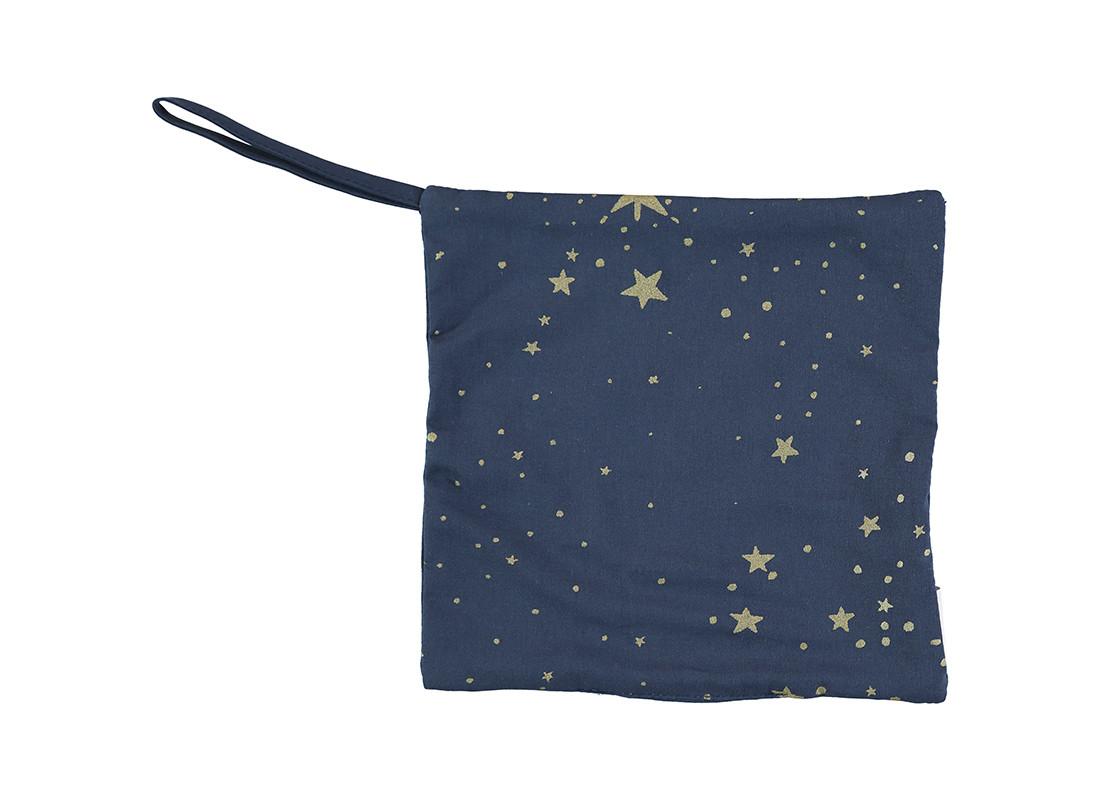 Doudou attache-tétine Dodo 19x19 gold stella/ night blue